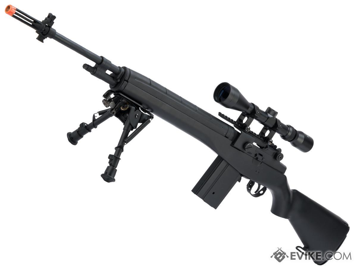 AGM MP008 M14 Airsoft AEG Battle Rifle w/ Scope Mount (Color: Black / Add 3-9x40 Scope + Bipod)