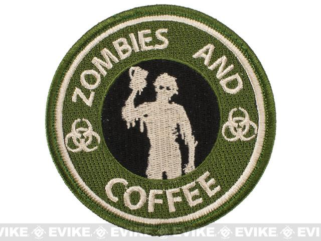 Pantel Tactical IFF Zombies and Coffee Embroidered Hook and Loop  Patch - Forest