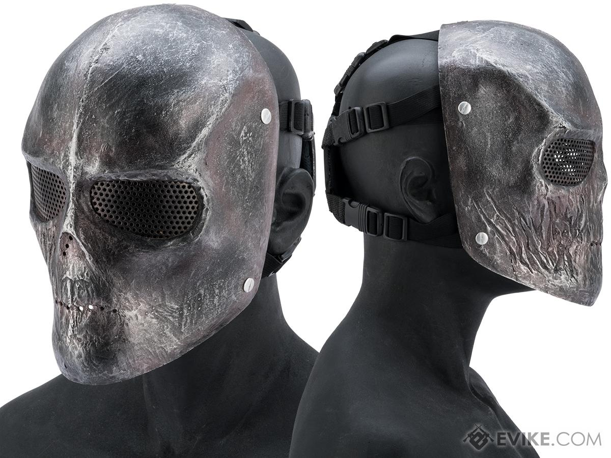 Evike.com R-Custom Fiberglass Wire Mesh Metallic Skull Mask - Small