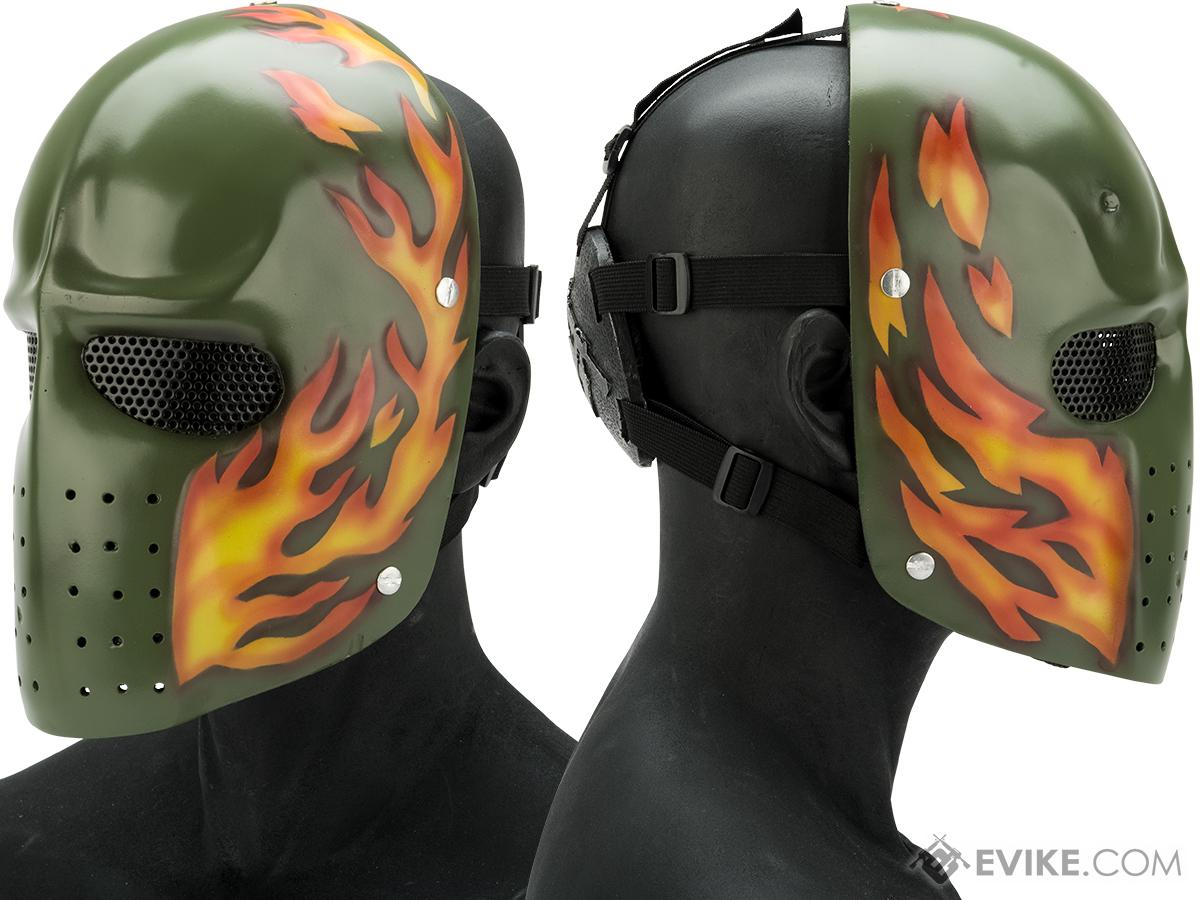 Evike.com R-Custom Fiberglass  Army Full Face Mask (Color: Orange Flame / Mesh Lens)