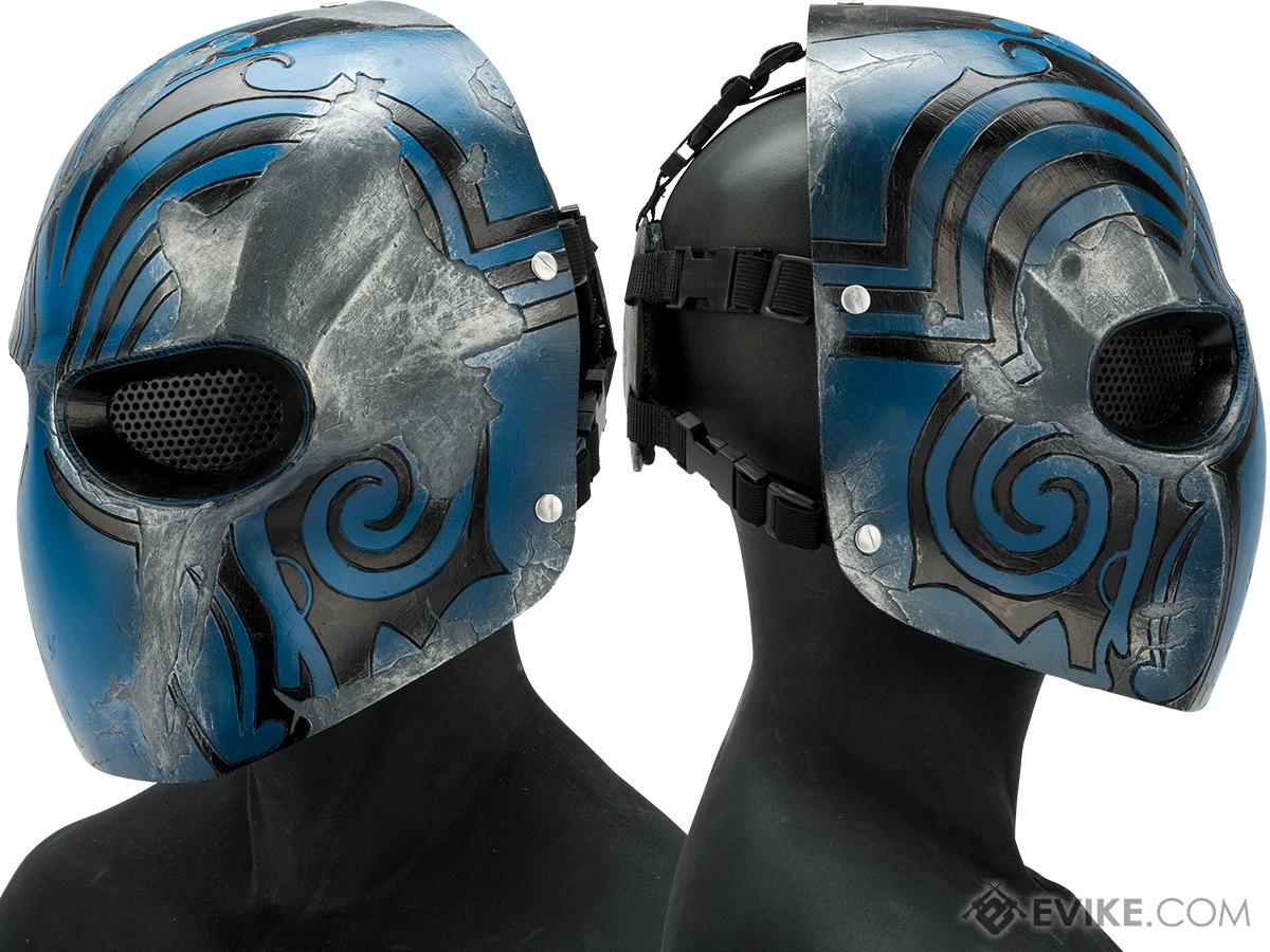 Evike.com R-Custom Fiberglass  Code Name Bravo Full Face Mask (Color: Blue / Mesh Lens)