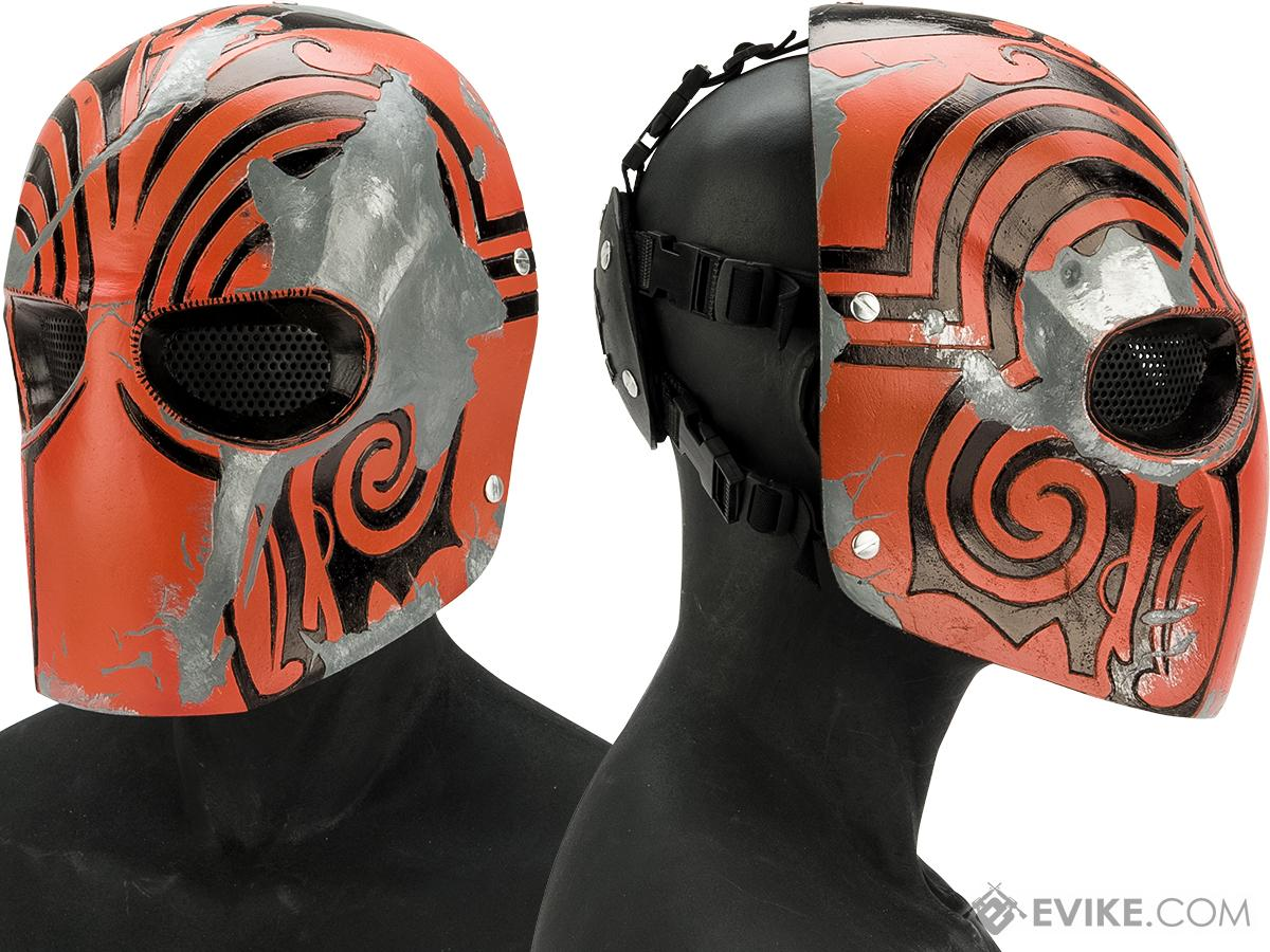 Evike.com R-Custom Fiberglass  Code Name Bravo Full Face Mask (Color: Orange / Mesh Lens)