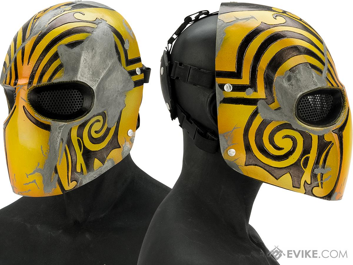 Evike.com R-Custom Fiberglass  Code Name Bravo Full Face Mask (Color: Yellow / Mesh Lens)