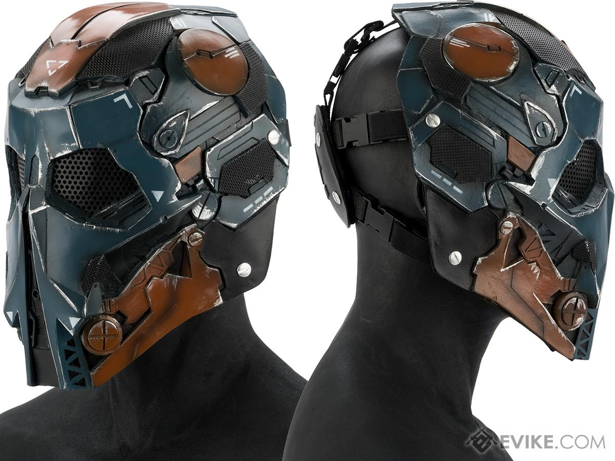 Evike.com R-Custom Fiberglass  Stalker Full Face Mask (Color: Blue Orange / Mesh Lens)