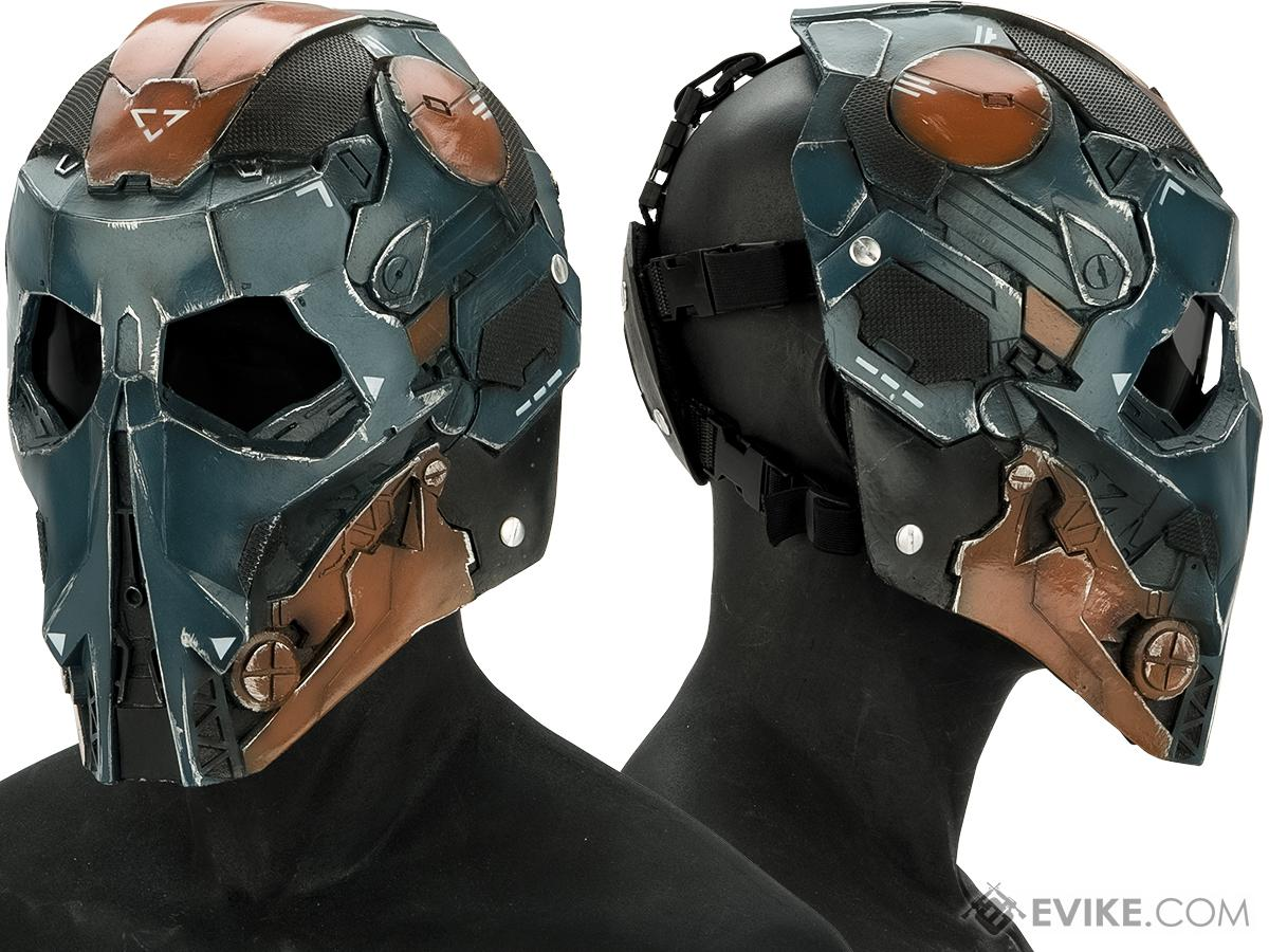 Evike.com R-Custom Fiberglass  Stalker Full Face Mask (Color: Blue Orange / Smoke Lens)