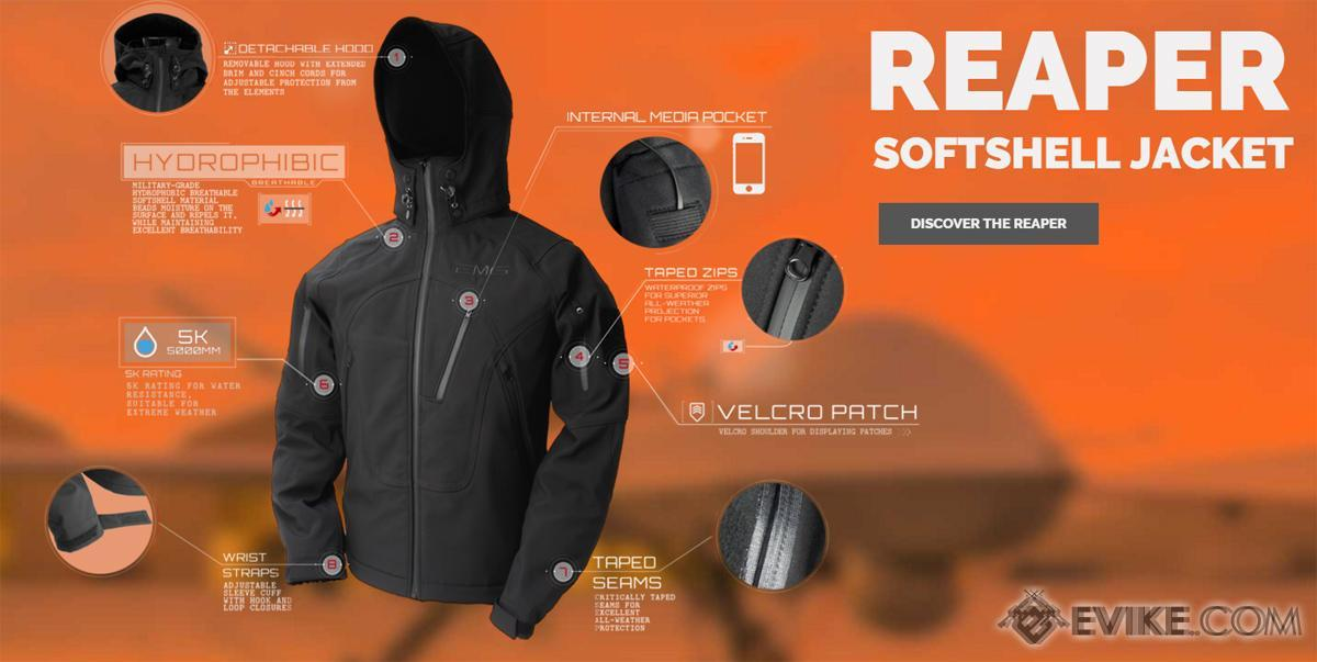 EMG Reaper Softshell Jacket - Black (Size: Small)
