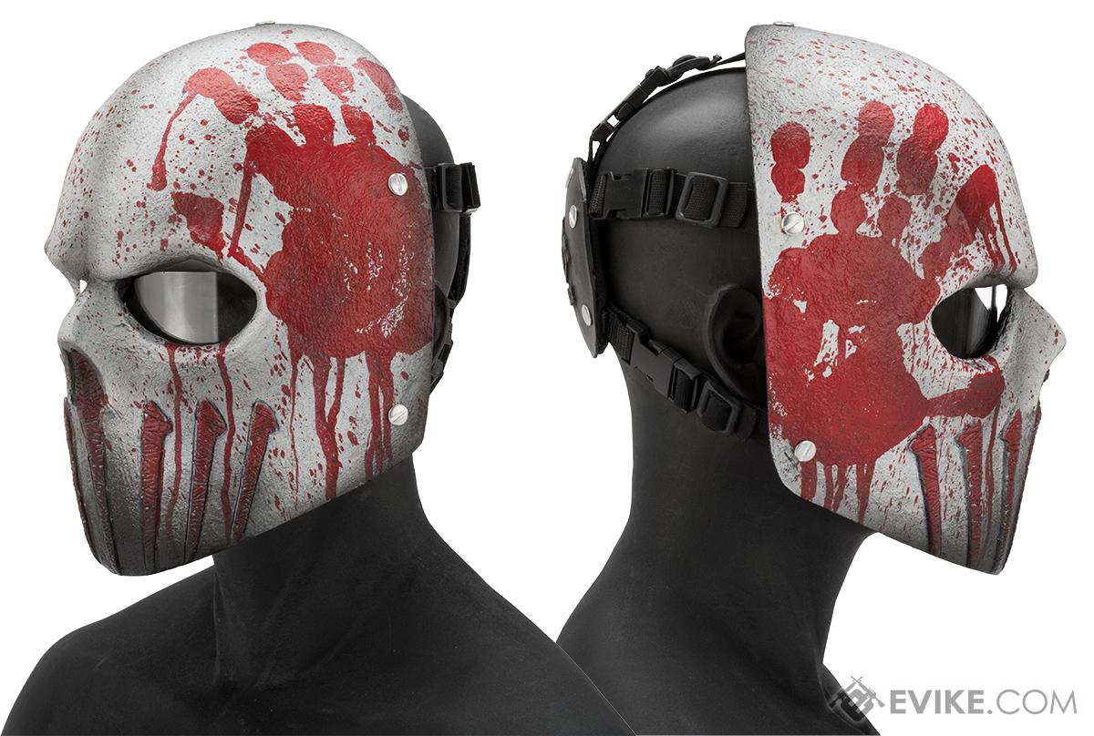 Evike.com R-Custom Fiberglass  Wraith Full Face Mask with Clear Lens (Color: Bloody Hand)