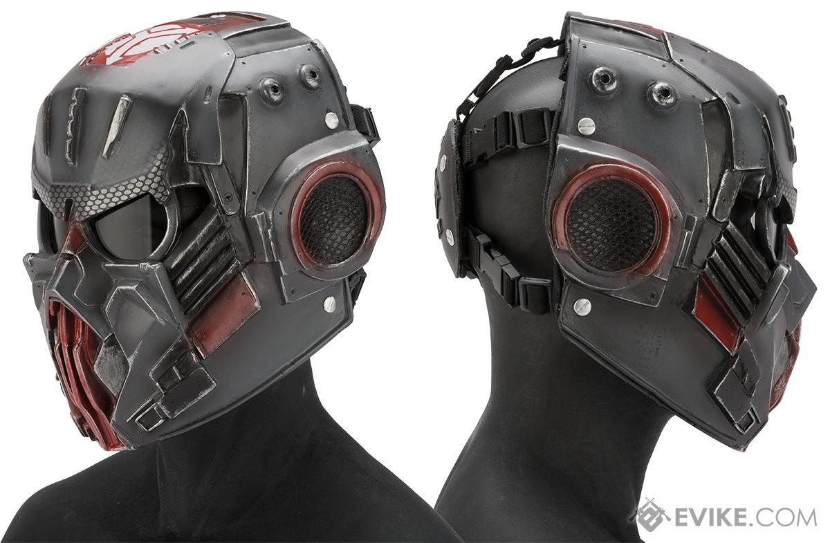 Evike.com R-Custom Fiberglass  Hellghast Full Face Mask with Grey Lens (Color: Carbon Grey)