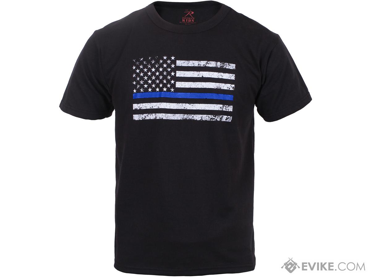 Rothco Thin Blue Line Kids T-Shirt - Black (Size: X-Large)