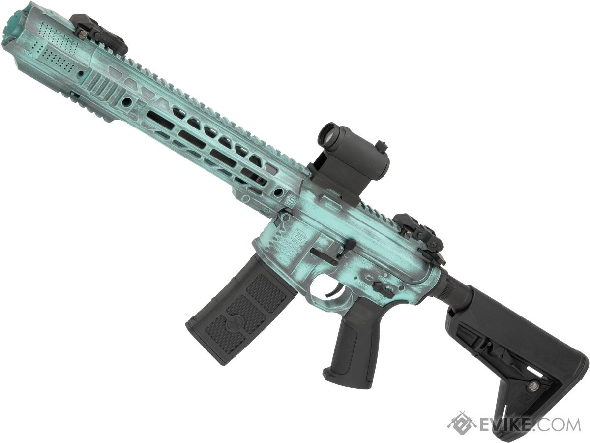EMG Custom Cerakote SAI GRY Training Weapon M4 Airsoft AEG Rifle (Configuration: SBR / Battle Worn Tiffany)