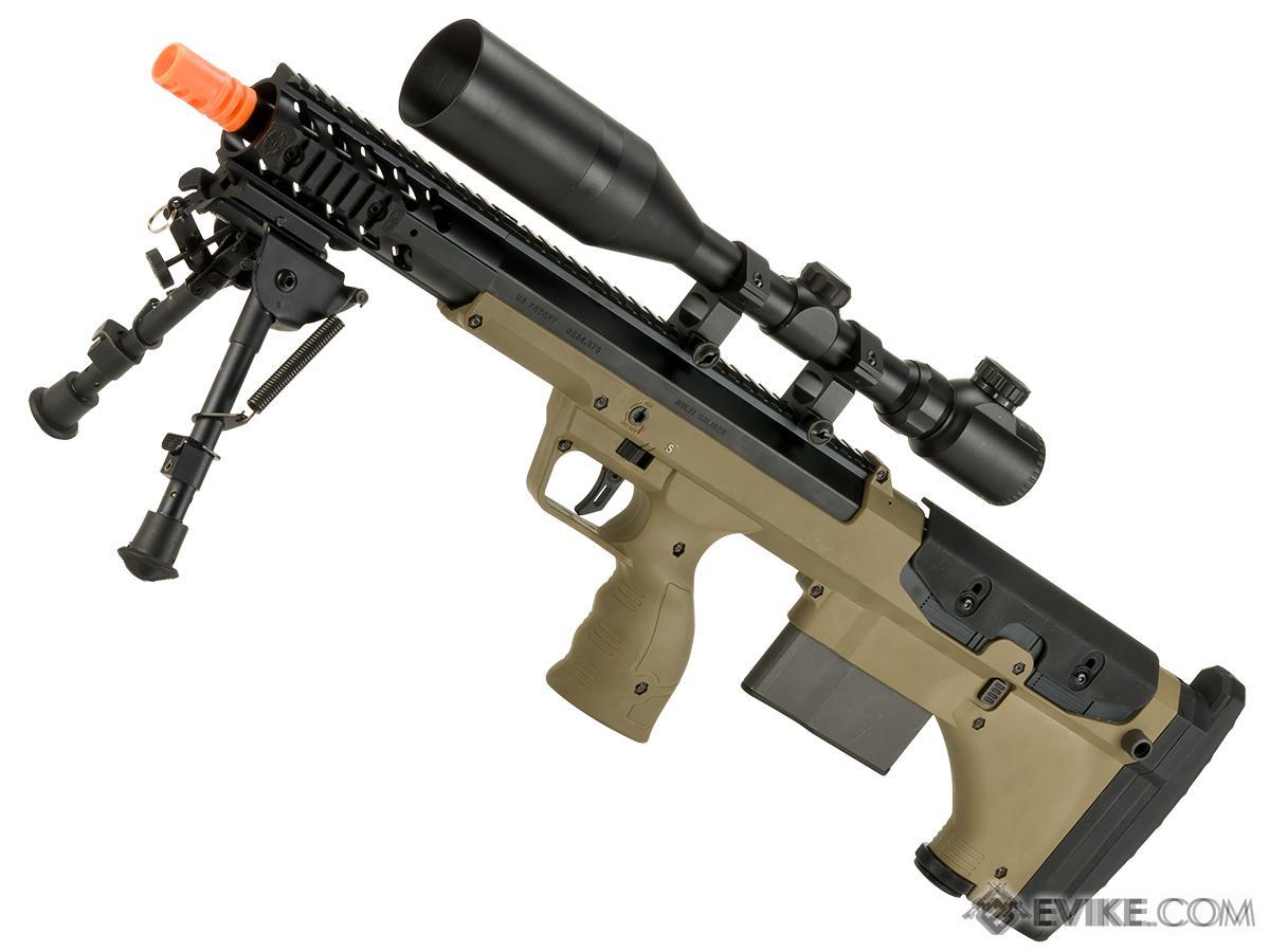 Desert Tech SRS-A1 16 Covert Gen3 Pull Bolt Action Bullpup Sniper Rifle by Silverback Airsoft (Color: Flat Dark Earth / Right-Handed)