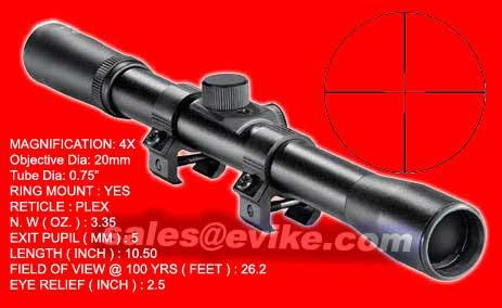 NcSTAR 4x20 Rifle Crossbow Paintball Scope (15mm rail mount / Dove Tail Mount)