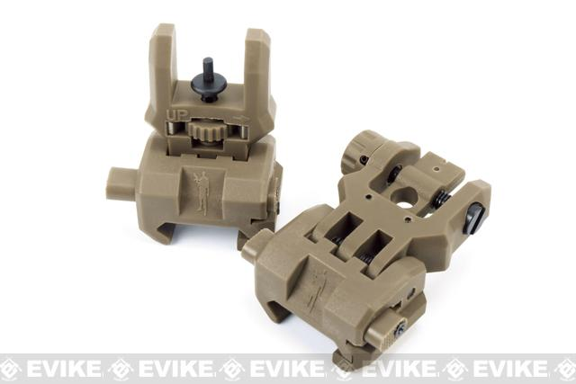 Command Arms (CAA) Licensed Low Profile Flip-up Sights Set (Color: Dark Earth)