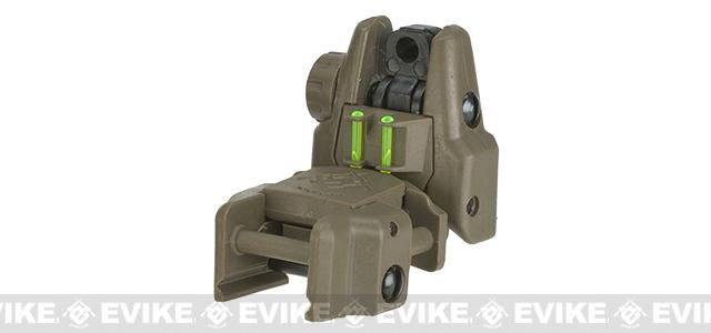 Dual-Profile Rhino Fiber Optic Flip-up Rifle / SMG Sight by Evike - Rear Sight (Color: Dark Earth)