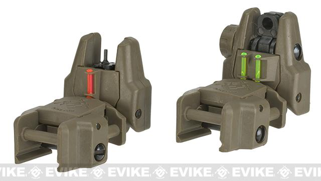 Dual-Profile Rhino Fiber Optic Flip-up Rifle / SMG Sight by Evike (Color: Dark Earth)