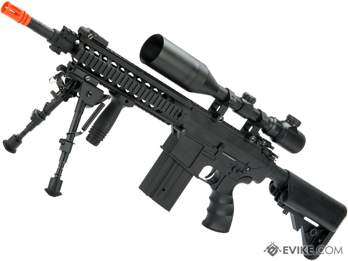 Matrix Full Size SR25-K Precision Rifle Airsoft AEG (Model: Metal Receiver / Adjustable Stock / Black)