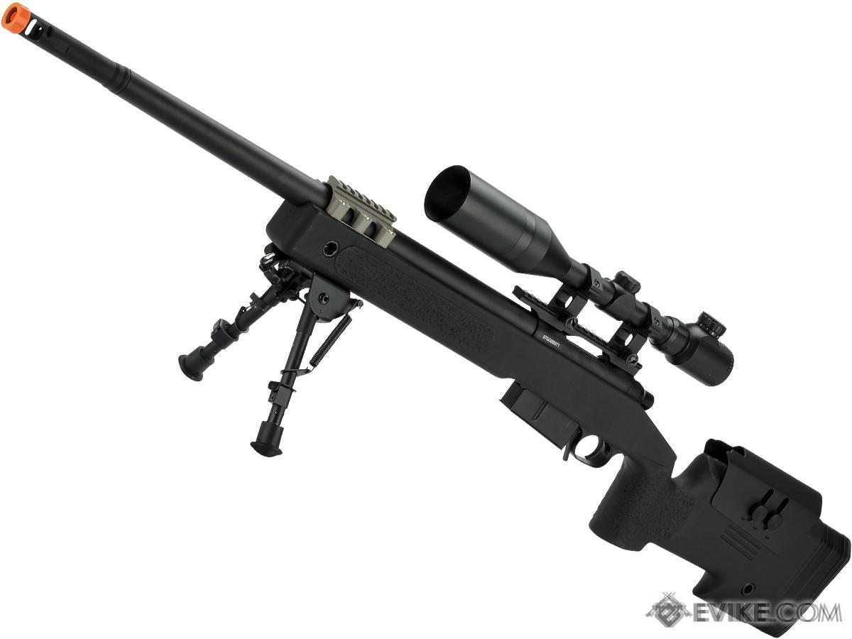 6mmProShop PDI Custom Upgraded USMC M40A5 Bolt Action Airsoft Sniper Rifle (Model: Black)
