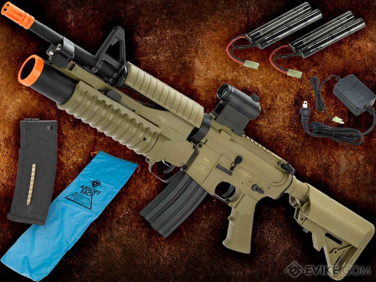 Go Airsoft Starter Package Avengers BAMF M4 LiPo Ready Airsoft AEG Rifle (Model: Tan / M4 with M203 Launcher)