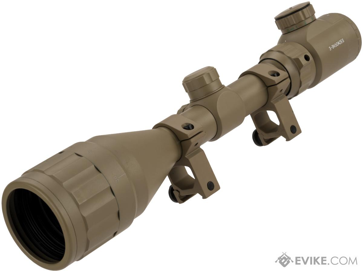 UFC 3-9X50 AOEG Illuminated Variable Zoom Rifle Scope with Scope Rings (Color: Tan)
