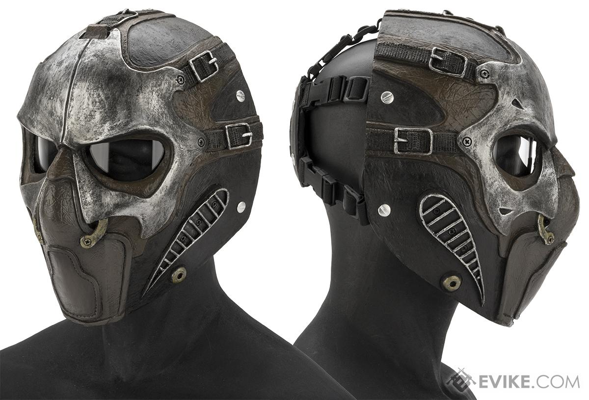 Evike.com R-Custom Fiberglass  Smoke Full Face Mask with Smoked Lenses (Color: Silver / Clear Lens)