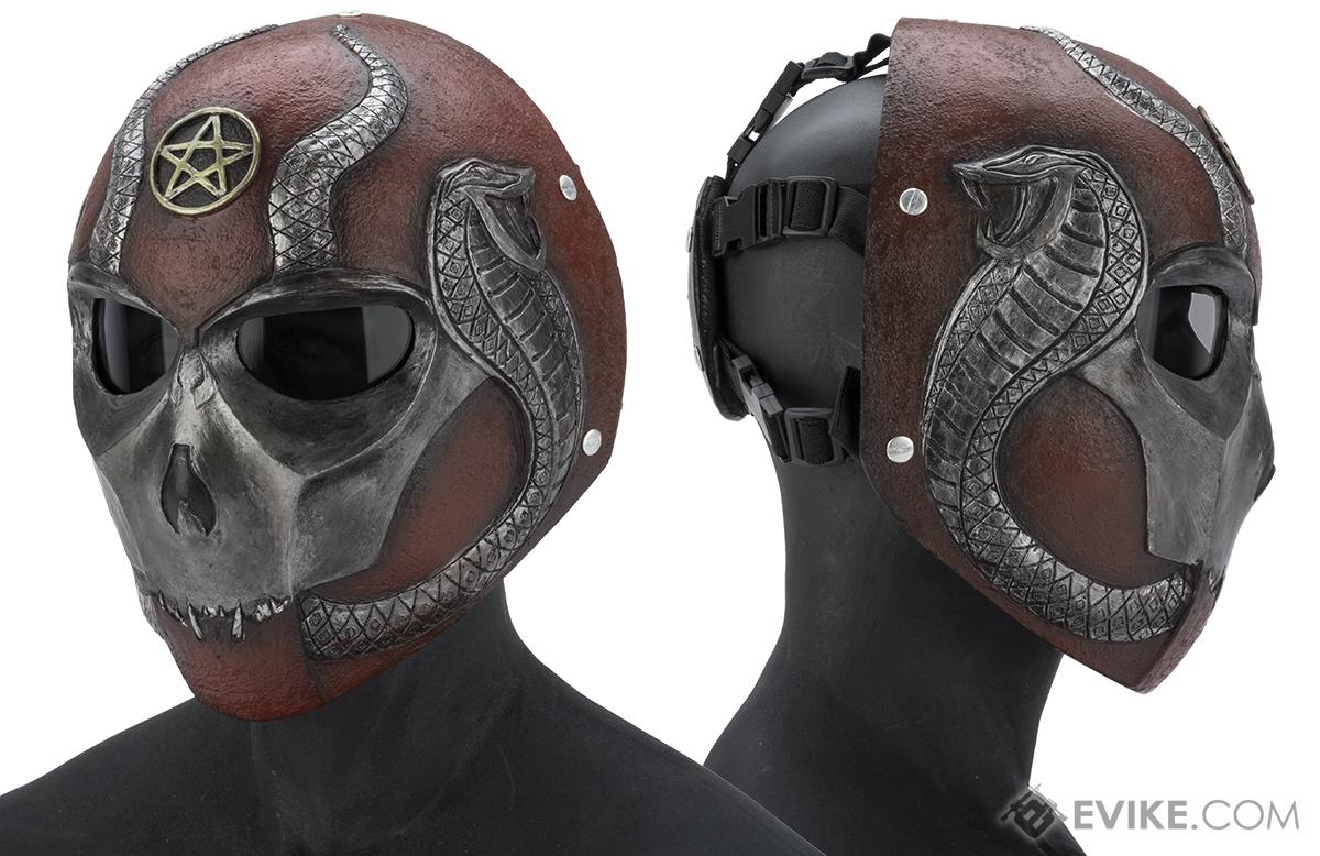 Evike.com R-Custom Fiberglass  Snake Eater Full Face Mask (Color: Silver and Maroon / Smoke Lens)