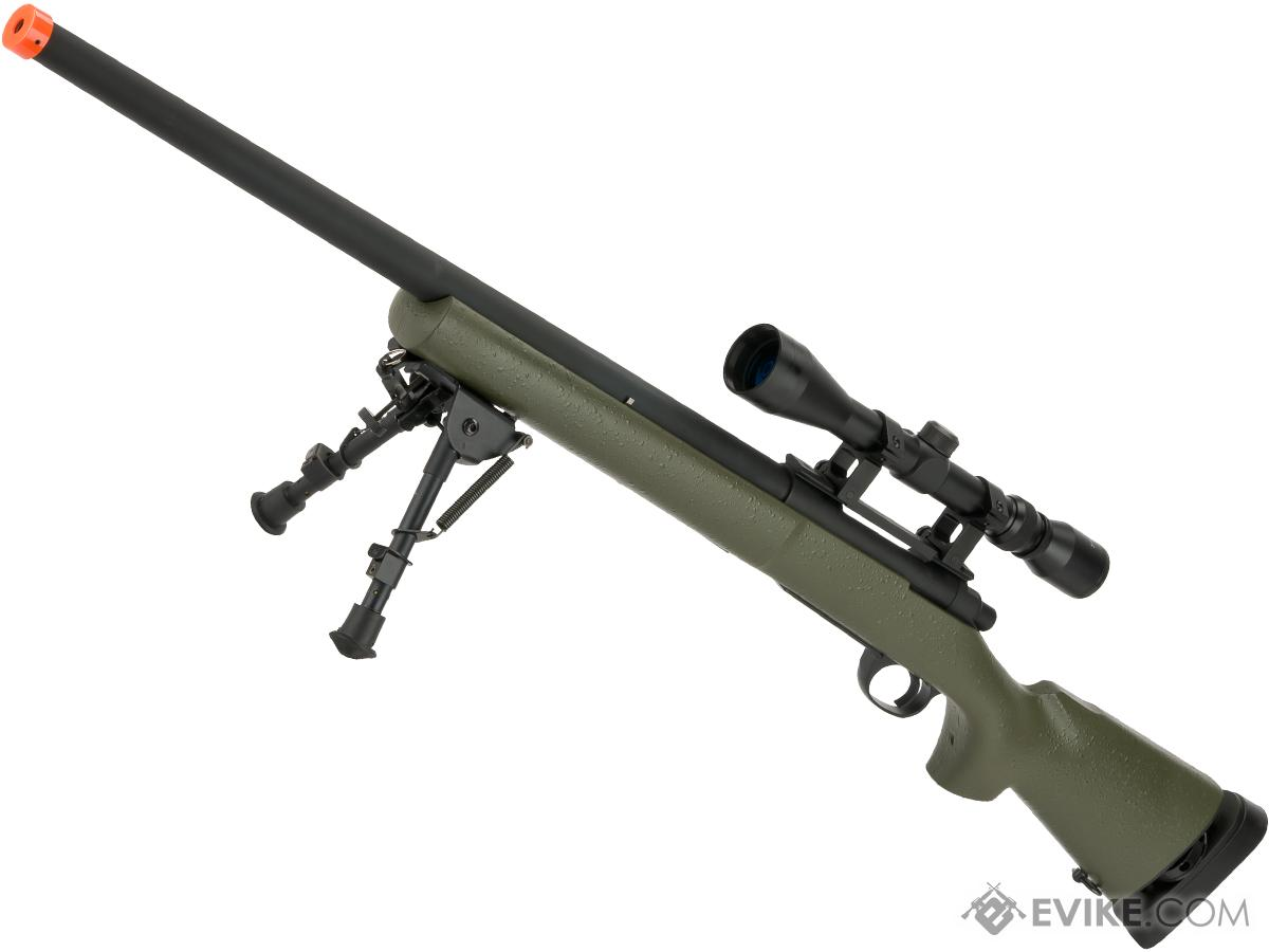 Snow Wolf US Army M24 Military Airsoft Bolt Action Scout Sniper Rifle  (Color: OD Green - Package C)