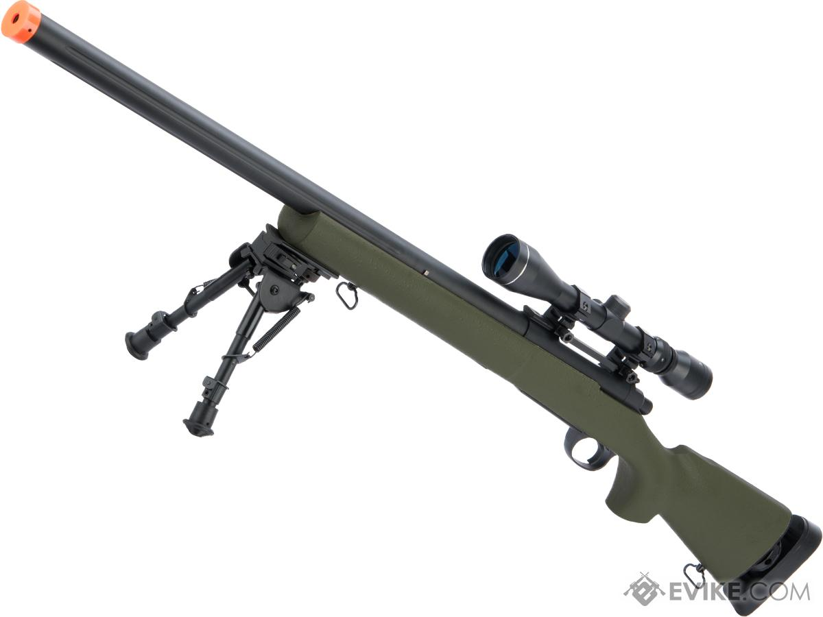 Snow Wolf US Army Style M24 Airsoft Bolt Action Scout Sniper Rifle w/ Fluted Barrel (Color: OD Green + Scope)
