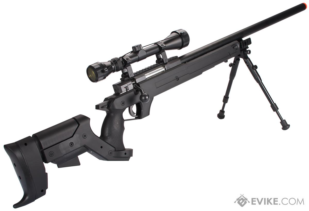 WELL MB04 APS Bolt Action Airsoft Sniper Rifle - ~490 FPS (Package: Add 3-9x40 Scope + Bipod ...