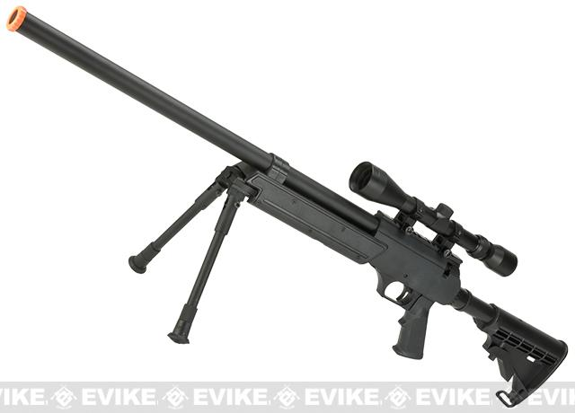 Matrix ASR SR-2 Shadow Op Bolt Action Airsoft Sniper Rifle w/ LE Stock & Bipod - Black (Package: Rifle)