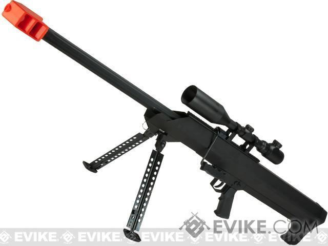 Snow Wolf M82 M99 LRSA Bolt Action Airsoft Long Range Sniper Rifle (Package: Black / Rifle & Bipod Only)