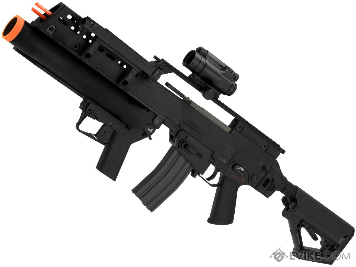 Evike Custom Icarus Heavy  EBB Airsoft AEG with CTS Stock and Grenade Launcher (Color: Black)