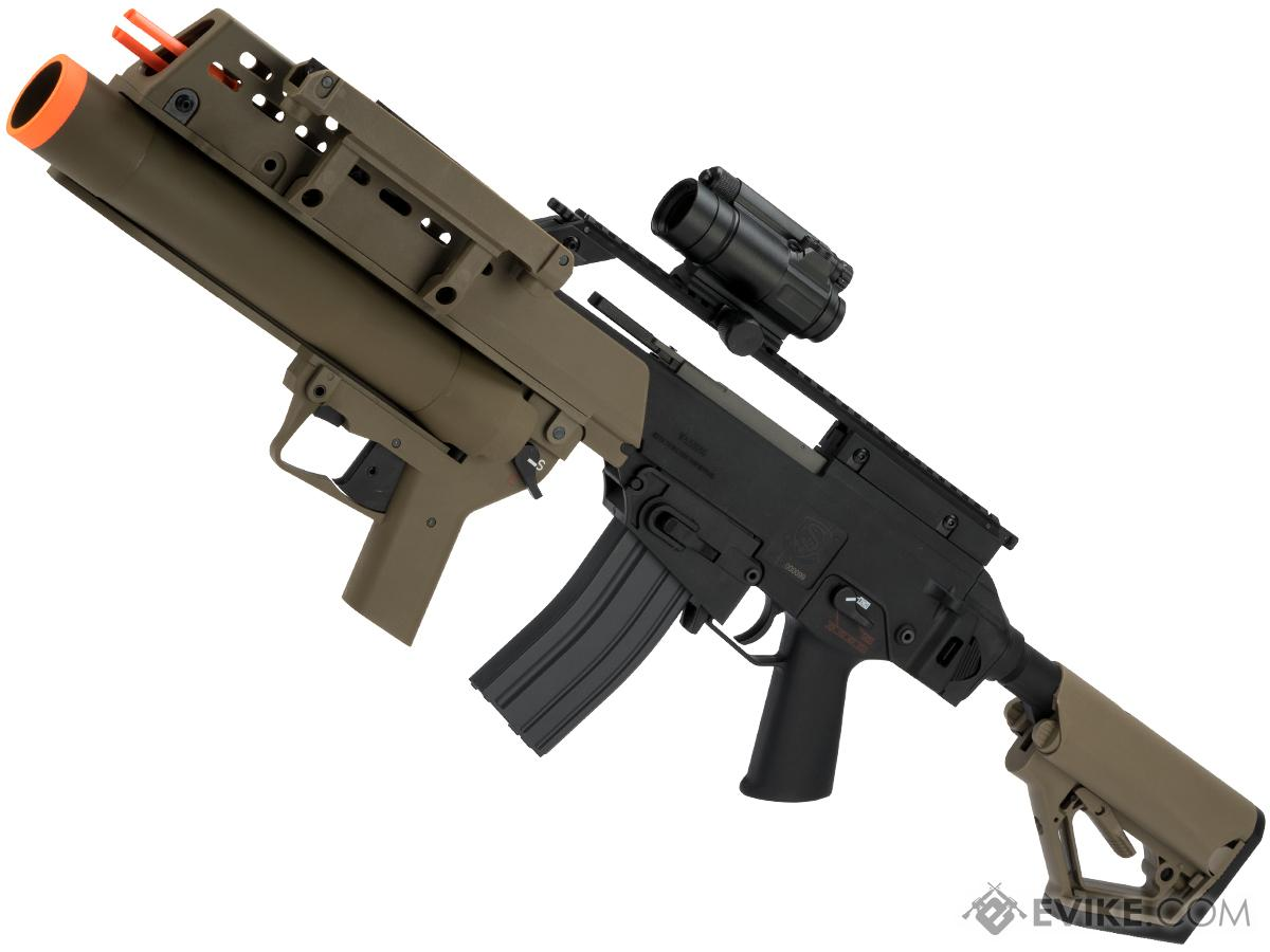 Evike Custom Icarus Heavy  EBB Airsoft AEG with CTS Stock and Grenade Launcher (Color: Dark Earth)