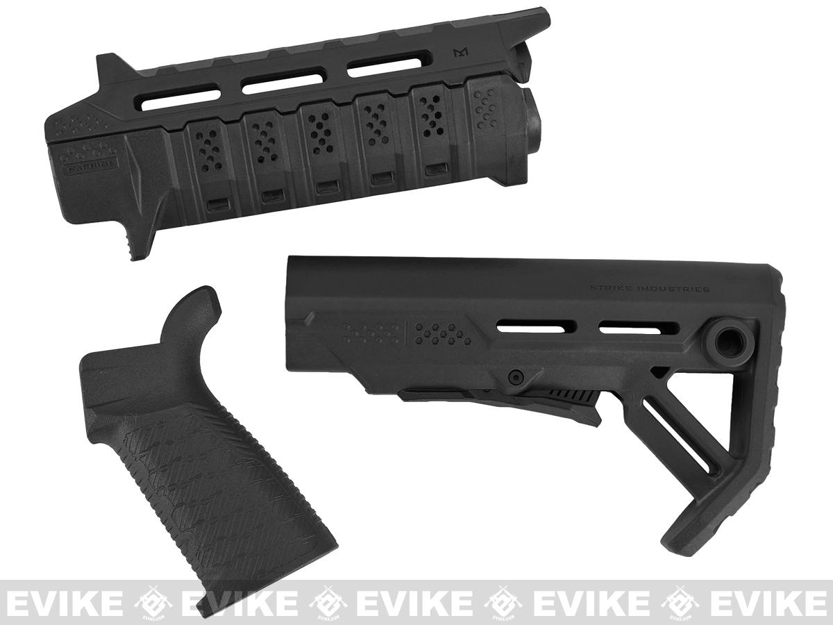 Strike Industries Carbine Length Polymer Furniture Package for Airsoft AEG Rifles (Color: Black)