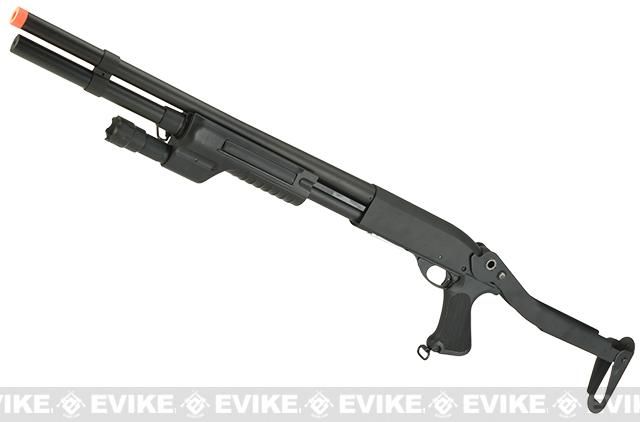 Matrix Full Metal Pump Action Airsoft Shotgun(Version: Full Size with Weapon Light and Top Folding Stock)