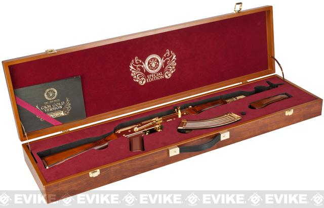 G&G Limited Edition Gold Plated GKM Airsoft EBB AEG Rifle w/ Real Wood  Furniture