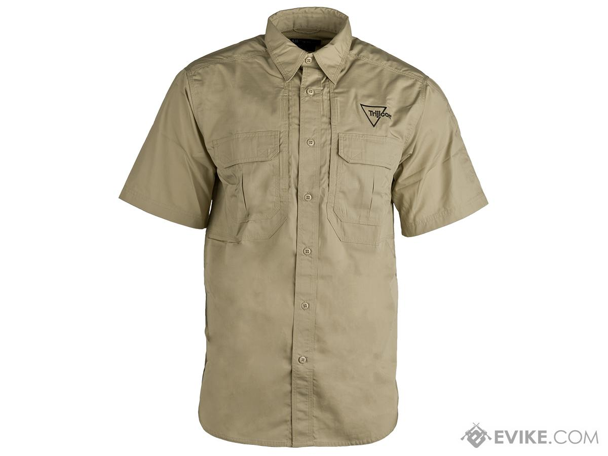 Khaki Short Sleeve Tact. Shirt w/Trijicon® Logo (Size: Large)
