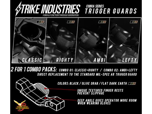 Strike Industries Cobra Series Airsoft M4 / M16 / AR Trigger Guards (Lefty / Ambidextrous) - Black