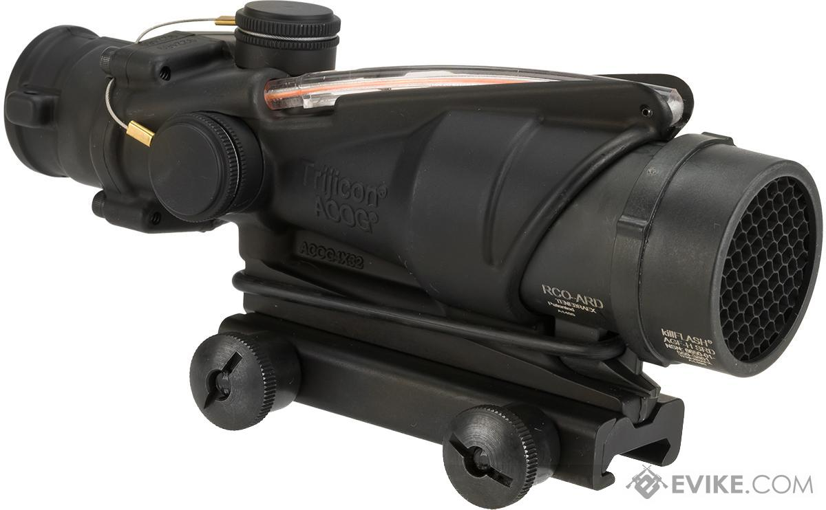 trijicon acog 4x32 rco scope with red chevron reticle illumination