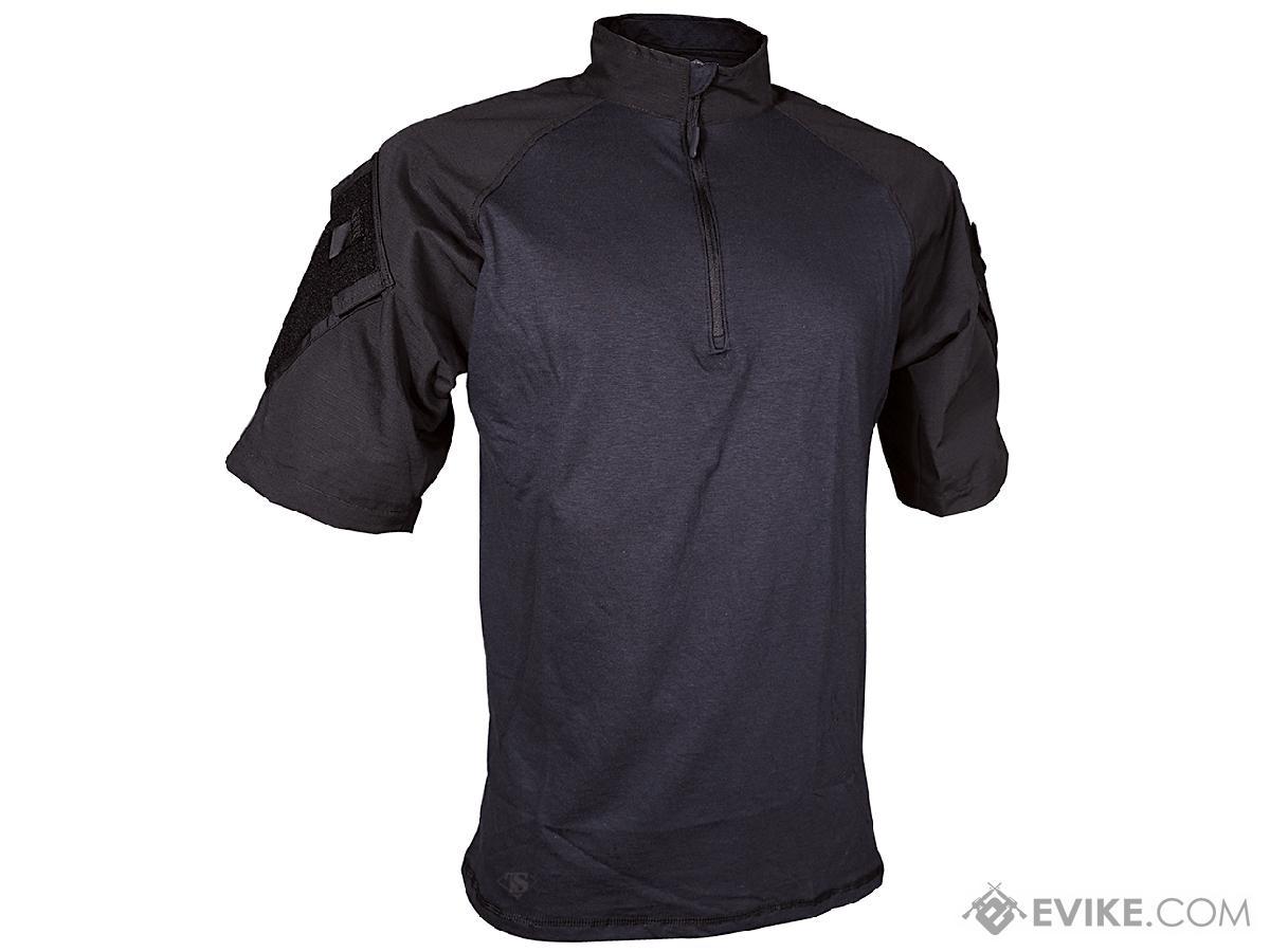 Tru-Spec Short-Sleeve Tactical Response Uniform 1/4 Zip Combat Shirt  (Size: Black / Small)