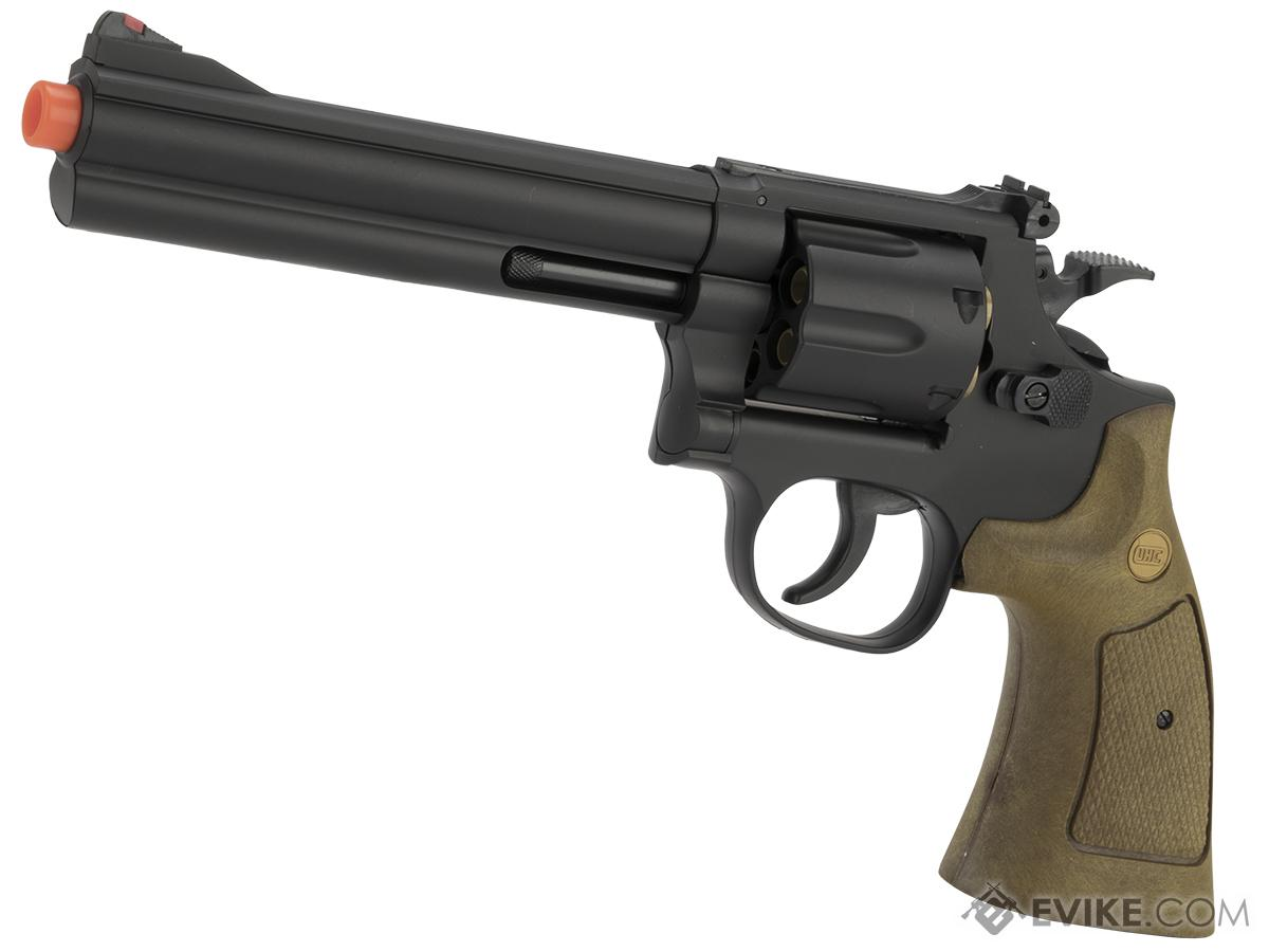 UHC 686  Heavy Weight Spring Powered Airsoft Revolvers (Length: 6 / Black with Imitation Wood Grips)