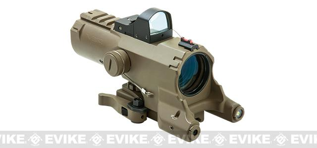 NcStar / VISM ECO 4x34 Scope w/ Green Laser, Nav LED, and Blue Illuminated Reticle and Micro Dot - Tan (Urban Tactical Reticle)