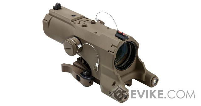 NcStar / VISM ECO 4x34 Scope w/ Green Laser, Nav LED, and Blue Illuminated Reticle (Urban Tactical Reticle) (Color: Tan)