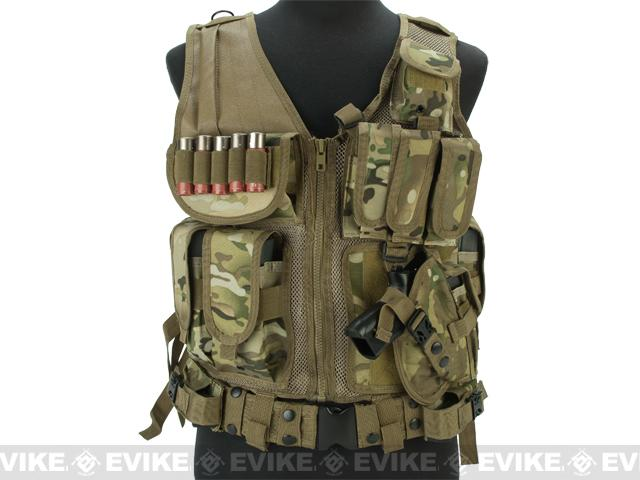 Matrix Special Force Cross Draw Tactical Vest w/ Built In Holster & Mag Pouches - Camo