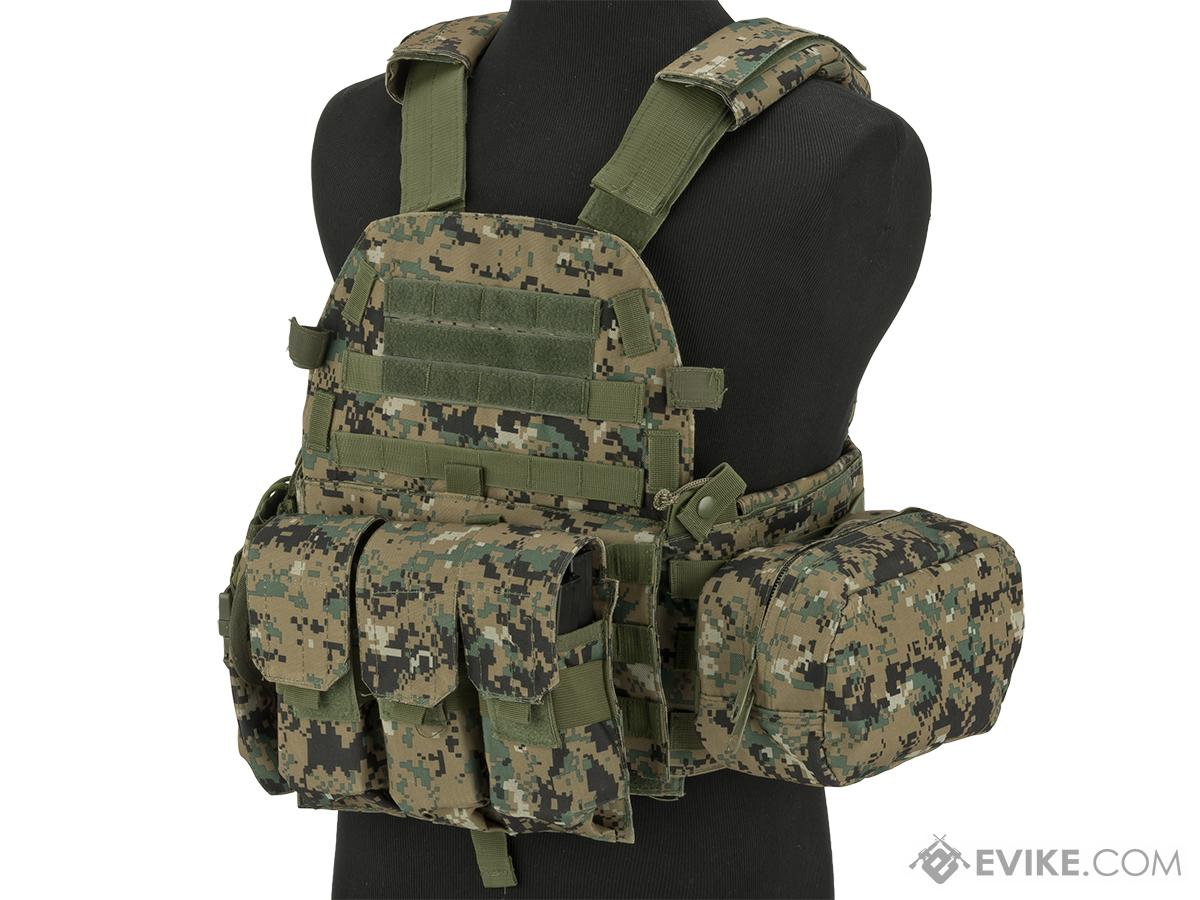 Avengers 6D9T4A Tactical Vest with Magazine and Radio Pouches (Color: Digital Woodland)