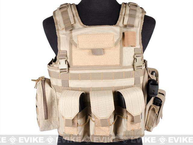 Matrix Variable Front Plate Vest w/ Integrated Pistol Holster - (Tan)