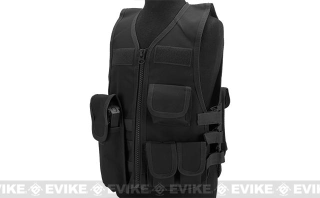 Matrix Childrens Size Tactical Zipper Vest w/ Integrated Magazine Pouches - Black