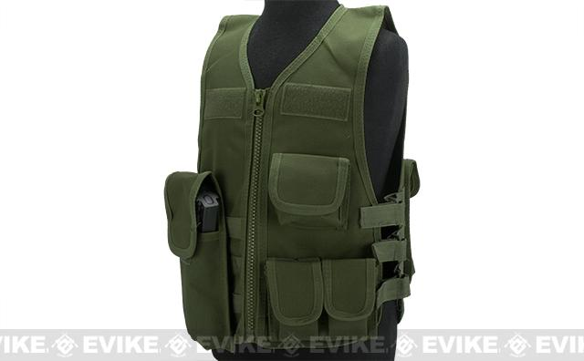 Matrix Childrens Size Tactical Zipper Vest w/ Integrated Magazine Pouches (Color: OD Green)