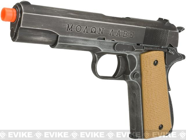 AW Custom Full Metal Custom Molon Labe Weathered 1911A1 Airsoft Gas Blowback Pistol (Color: Desert Grip)