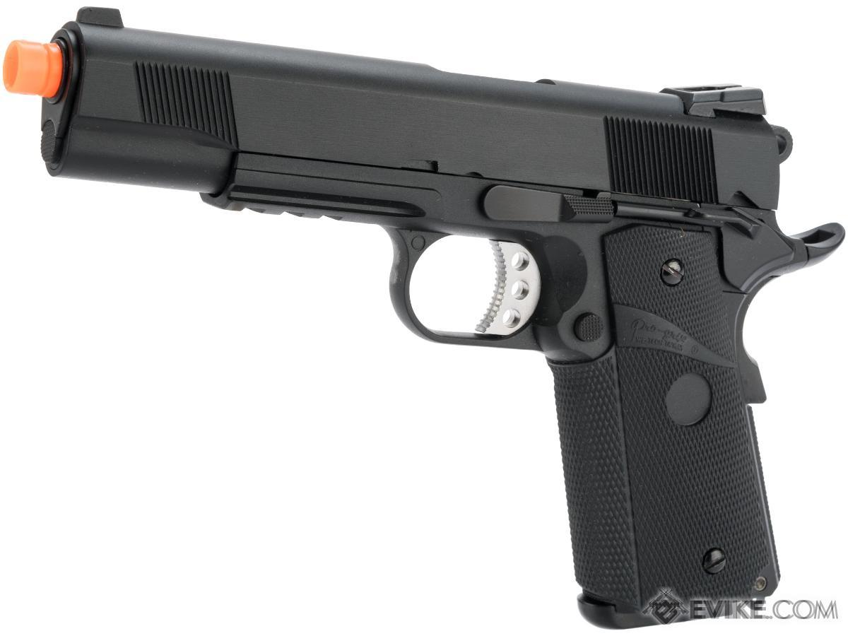 WE / CQB Master Metal 1911 MEU Heavy Weight Airsoft GBB Pistol (Color: Black w/ Rail)