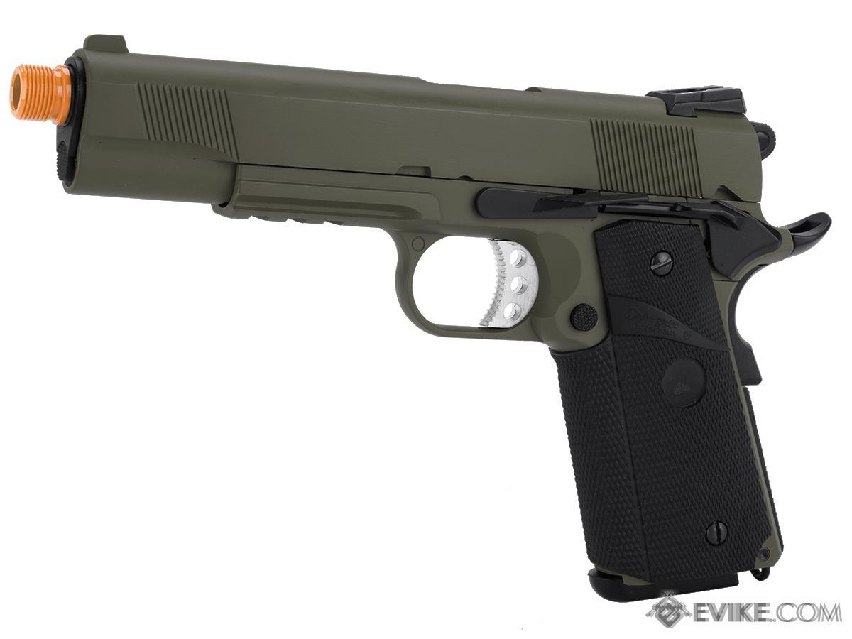 WE / CQB Master Metal 1911 MEU Heavy Weight Airsoft GBB Pistol (Color: OD Green w/ Rail)